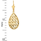 Solid Yellow Gold Double Layered Woven Hearts Filigree Teardrop Shape Drop Earring Set