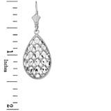 14K Solid White Gold Double Layered Woven Hearts Filigree Teardrop Shape Drop Earring Set