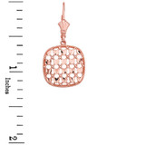 14K Solid Rose Gold Double Layered Woven Hearts Filigree Squared Shape  Drop Earring Set