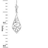 """Sterling Silver Teardrop Filigree Tribal  Drop Earring Set 1.42"""" (36mm)"""