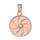 Rose Gold Armenian Diamond Eternity Pendant Necklace