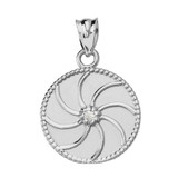 White Gold Armenian Diamond Eternity Pendant Necklace