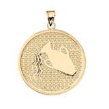 Yellow Gold Aquarius Zodiac Disc Pendant Necklace