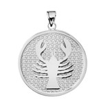 Sterling Silver Cancer Zodiac Disc Pendant Necklace