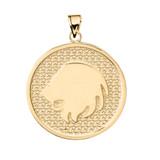 Yellow Gold Leo Zodiac Disc Pendant Necklace