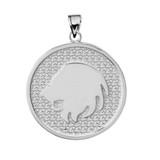 Sterling Silver Leo Zodiac Disc Pendant Necklace