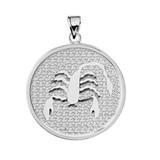 White Gold Scorpio Zodiac Disc Pendant Necklace