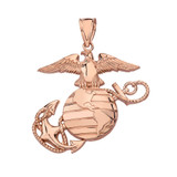 Solid Rose Gold U.S Marine Corps Emblem Pendant Necklace