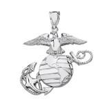 Sterling Silver U.S Marine Corps Emblem Pendant Necklace