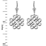14K Solid White Gold Woven Celtic Hearts Drop Earring Set