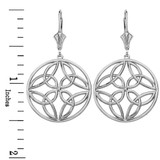 14K Solid White Gold Triquetra Trinity Celtic Knot Circle Drop Earring Set  (Large)