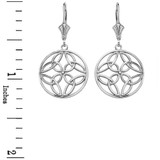 Sterling Silver Triquetra Trinity Celtic Knot Circle Drop Earring Set  (Small)