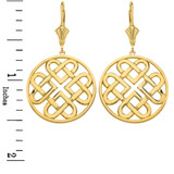 Solid Yellow Gold Woven Celtic Hearts Circle Drop Earring Set  (Large)