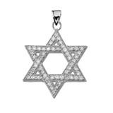 White Gold Diamond Jewish Star of David Pendant Necklace