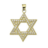 Yellow Gold Jewish Star of David Pendant Necklace