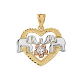 Solid Three Tone Gold Elephant and Heart CZ Pendant Necklace