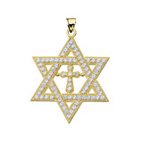 """Yellow Gold Judaeo-Christian Pendant Necklace ( 1.4"""" )"""