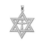 "White Gold Judaeo-Christian Pendant Necklace ( 1.4"" )"