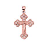 Rose Gold Eastern Orthodox C.Z Crucifix Pendant Necklace