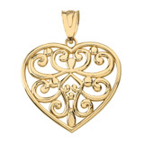 Filigree Heart Pendant Necklace in Solid Gold (Yellow/Rose/White)