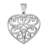 Solid White Gold Filigree Heart Pendant Necklace