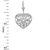 14K Solid White Gold Filigree Heart Drop Earring Set