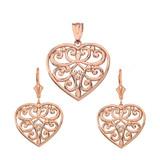 14k Solid Rose Gold Filigree Heart Necklace Earring Set