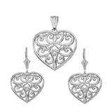 Sterling Silver  Filigree Heart Necklace Earring Set