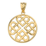 Woven Celtic Hearts Circle Pendant Necklace in Solid Gold (Yellow/Rose/White)