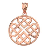 Solid Rose Gold Woven Celtic Hearts Circle Pendant Necklace