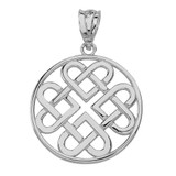 Solid White Gold Woven Celtic Hearts Circle Pendant Necklace