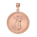 Solid Rose Gold Our Lady of Guadalupe Engravable Circle Medallion Diamond Pendant Necklace (Large)