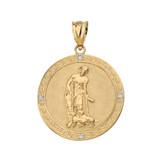 Saint Lazarus Engravable Circle Medallion Diamond Pendant Necklace (Large) in Solid Gold (Yellow/Rose/White)