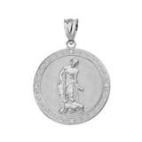 Solid White Gold Saint Lazarus Engravable Circle Medallion Diamond Pendant Necklace (Large)