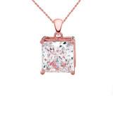 Rose 10K Gold Elegant Princess Cut Necklace and Stud Earrings Set