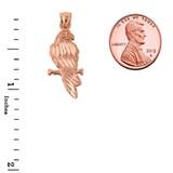 Solid Rose Gold Diamond Cut Parakeet Pendant