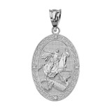 Solid White Gold Saint George and the Dragon Oval Engravable Medallion Diamond Prayer Pendant Necklace (Small)