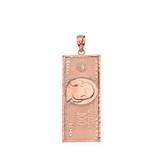Solid Rose Gold Benjamin Franklin United States American Hundred Dollar Bill  Pendant Necklace (Small)