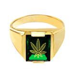 Solid Yellow Gold Green CZ Stone Marijuana Signet Men's Ring