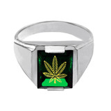 Sterling Silver Green CZ Stone Marijuana Signet Men's Ring