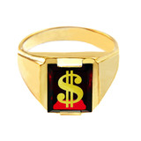 Solid Yellow Gold Red CZ Stone Dollar Sign Signet Men's Ring