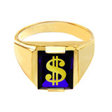 Solid Yellow Gold Blue CZ Stone Dollar Sign Signet Men's Ring