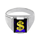 Solid White Gold Blue CZ Stone Dollar Sign Signet Men's Ring