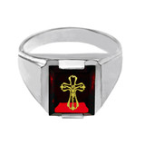 Solid White Gold Red CZ Stone Crucifix Signet Men's Ring