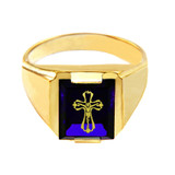 Solid Yellow Gold Blue CZ Stone Crucifix Signet Men's Ring