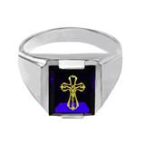 Sterling Silver Blue CZ Stone Crucifix Signet Men's Ring