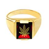 Solid Yellow Gold Red CZ Stone Marijuana Signet Men's Ring