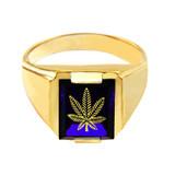 Solid Yellow Gold Blue CZ Stone Marijuana Signet Men's Ring