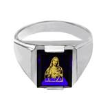 Sterling Silver Blue CZ Stone Sacred Heart Jesus Signet Men's Ring