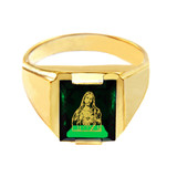 Solid Yellow Gold Green CZ Stone Sacred Heart Jesus Signet Men's Ring